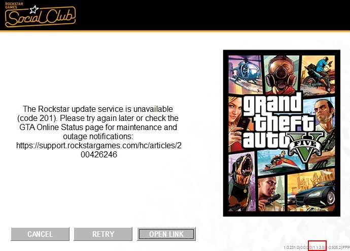 "Rockstar update service is unavailable"" (error code 201)"