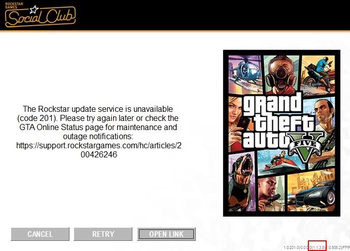 """Rockstar update service is unavailable"""" (error code 201)"""