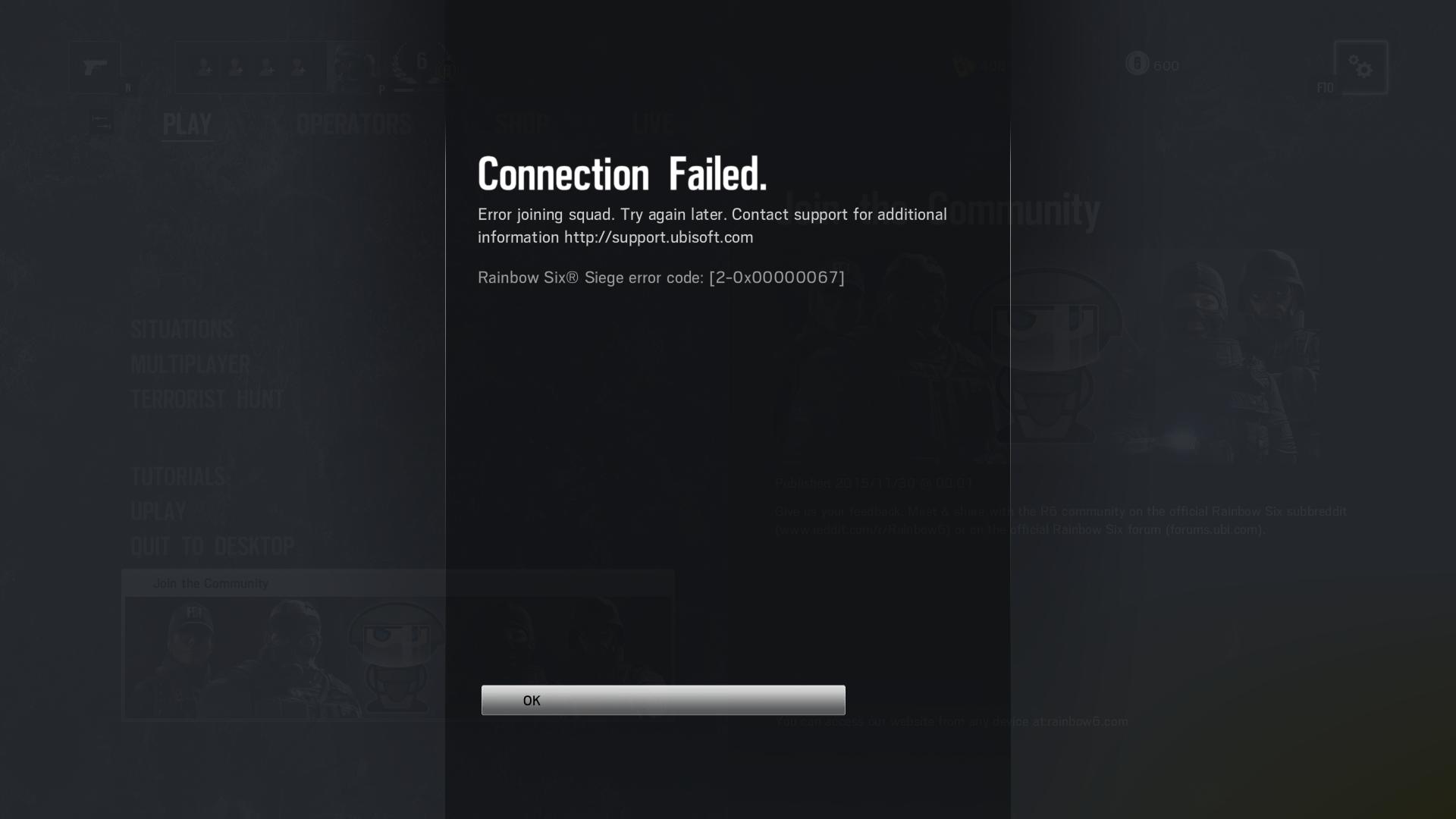 How to fix error code 2-0x00000067 on Rainbow Six Siege