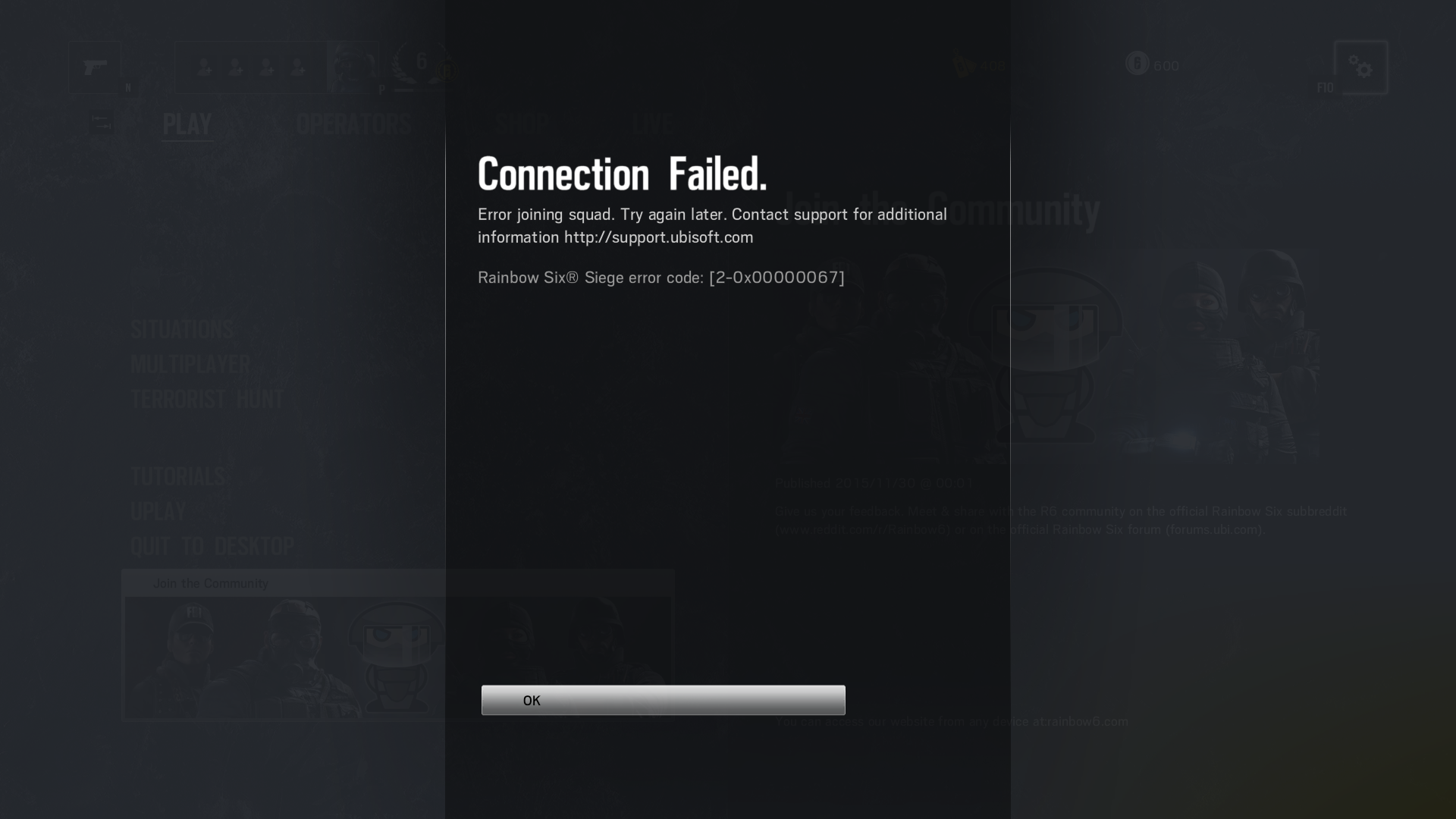 How to fix error code 2-0x00000067 on Rainbow Six Siege