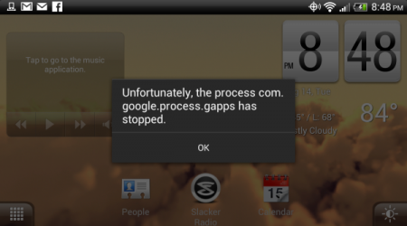 How to fix the process com.google.process.gapps has stopped error