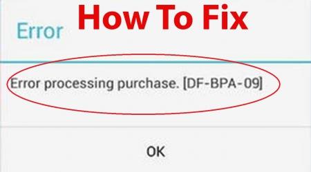 Error Processing Purchase DF-BPA-09
