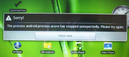 The process android.process.acore has stopped unexpectedly