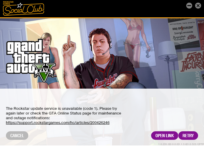 The Rockstar update service is unavailable (code 1)