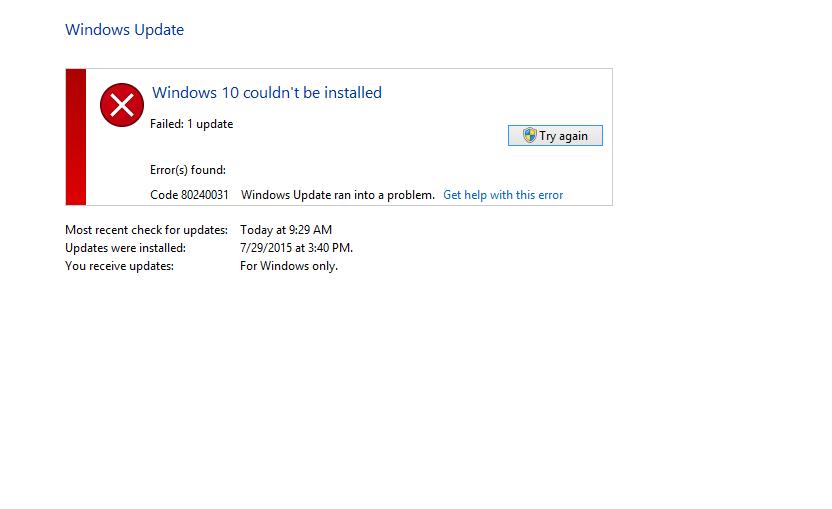 How to fix Error Code 80240031 on Windows 8 1/10?